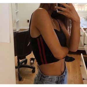 Brandy Melville black and red stripe crop top
